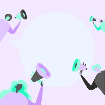 Группа людей рисунок держит свои мегафоны, разговаривая и обмениваясь идеями друг с другом, чтобы поговорить в облаке. mob line drawing делает новое объявление друг другу.