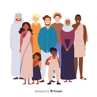 다른 종족의 사람들의 그룹
