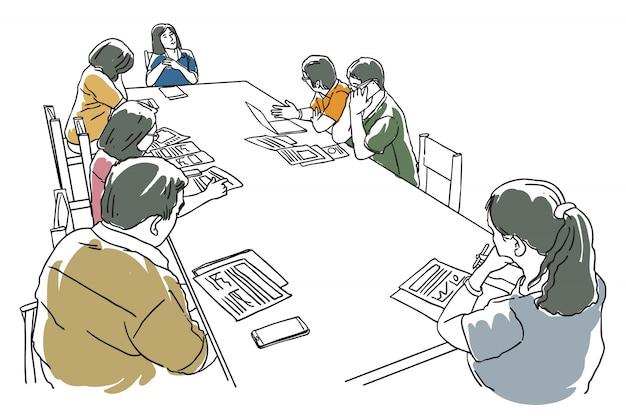 사람들의 그룹은 테이블 라인 아트 그림에 회의가