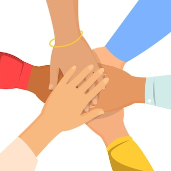 사람들의 그룹은 함께 손을 잡으십시오.