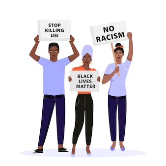 プラカードを保持し、黒人の人権について抗議する人々のグループ。