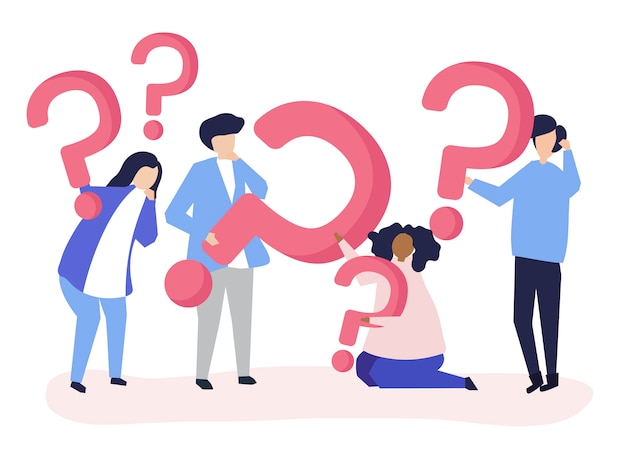 Группа людей, знающих значки вопроса