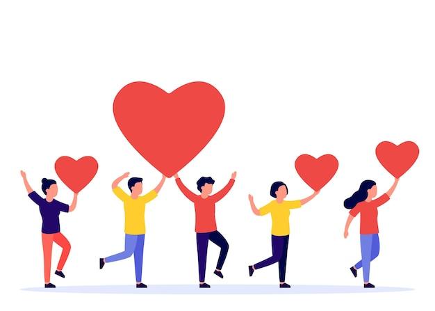 Группа людей, занимающих плоскую иллюстрацию красных сердец