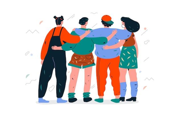 청소년의 날에 서로 포옹하는 사람들의 그룹 그림