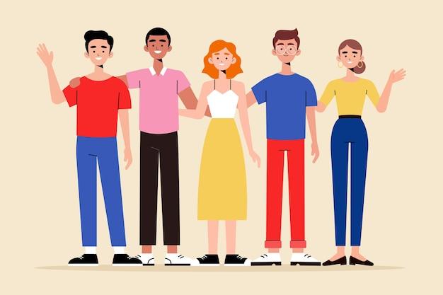Коллекция иллюстрации группы людей