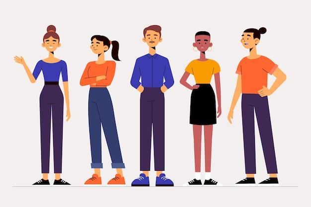 Пакет иллюстраций группы людей