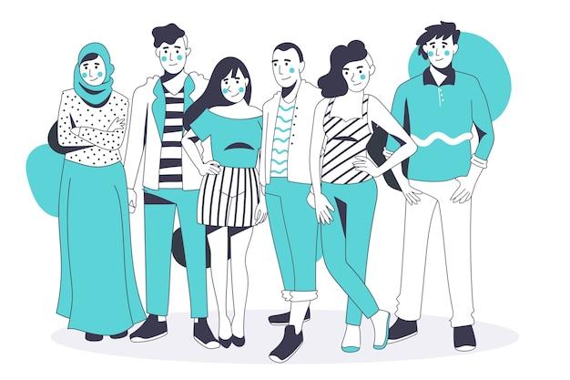 フラットなデザインの人々のグループ