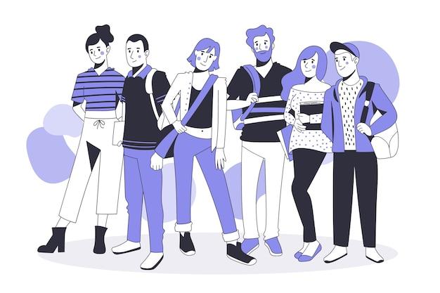 フラットスタイルの人々のグループ