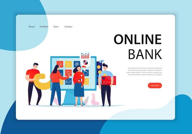 신용 카드 방문 페이지를 들고 터치 스크린 앞의 사람들의 그룹. 온라인 은행 개념