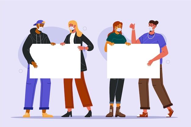 플래 카드와 의료 마스크에있는 사람들의 그룹