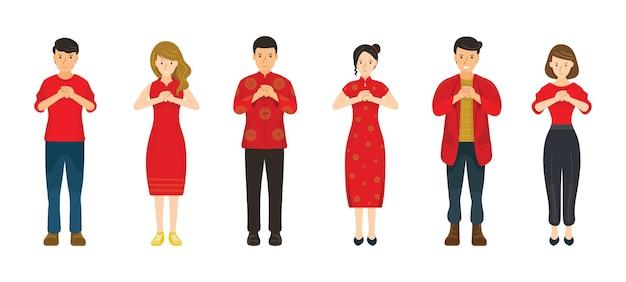 빨간 옷, 중국 새 해에있는 사람들의 그룹
