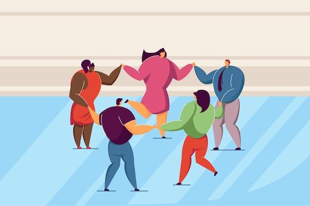 ラウンドダンスの人々のグループ。フラットベクトルイラスト。手をつないで一緒に踊る多国籍の友達。多文化社会、友情、バナーデザインのダンスコンセプト、ランディングページ