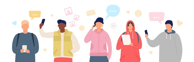 Группа людей в чате смартфона. юноши и девушки используют гаджеты для общения. плоские персонажи в чате в векторном баннере социальных сетей. девушка и мальчик с планшетами и мобильным телефоном