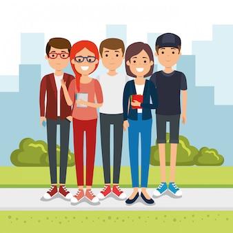 공원에서 사람들의 그룹