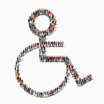Группа людей в форме инвалида. иллюстрация.