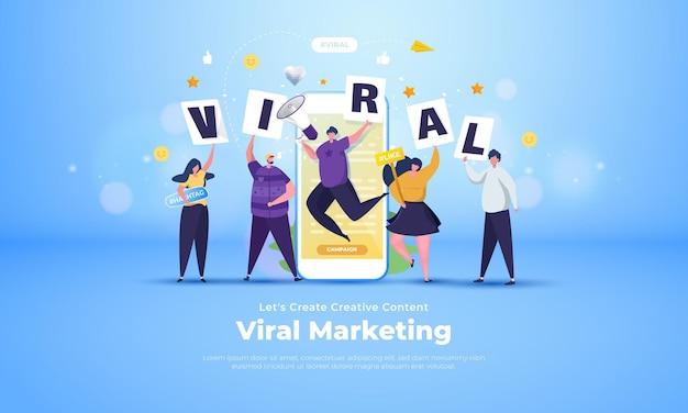 Группа людей приглашает создать креативный контент, вирусная маркетинговая кампания