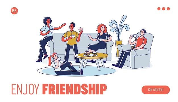 人々のグループは、ホットドリンクやカップケーキを食べながら、家で一緒にコミュニケーションを取り、時間を過ごしています。ウェブサイトのランディングページ。 webページ漫画の概要線形フラット。