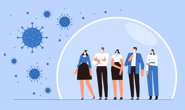 Группа людей стоит в защитном пузыре.
