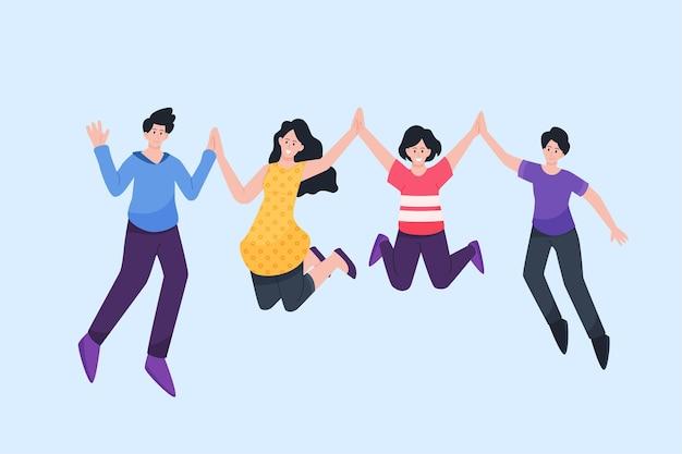 若者の日イベントでジャンプする人々のグループ