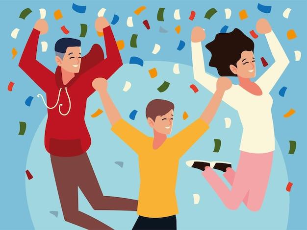 紙吹雪パーティーを祝ってジャンプする人々のグループ
