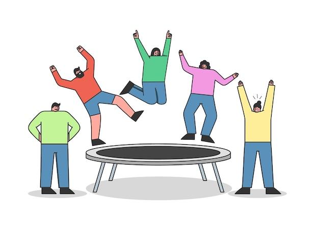 트램폴린에 점프하는 사람들의 그룹입니다. 정원 트램폴린에 재미 젊은 만화 캐릭터