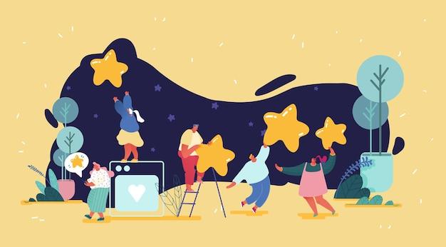Группа людей, оставляющих пятизвездочный рейтинг. опыт и удовлетворенность клиентов, положительные отзывы, оценка работы, обзор и оценка продукта или услуги. современная квартира
