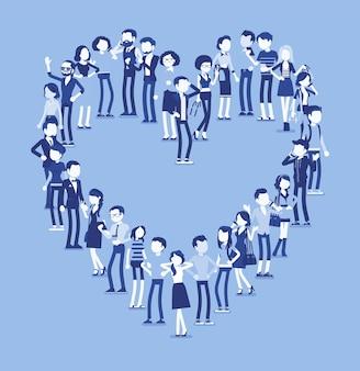 Группа людей, делающих форму сердца. представители разных наций, пола, возраста, профессий стоят вместе, образуя романтический символ любви. векторная иллюстрация с безликими персонажами, полная длина