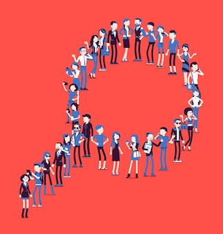 拡大鏡の形を作る人々のグループ