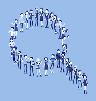 Группа людей, делающих форму лупы