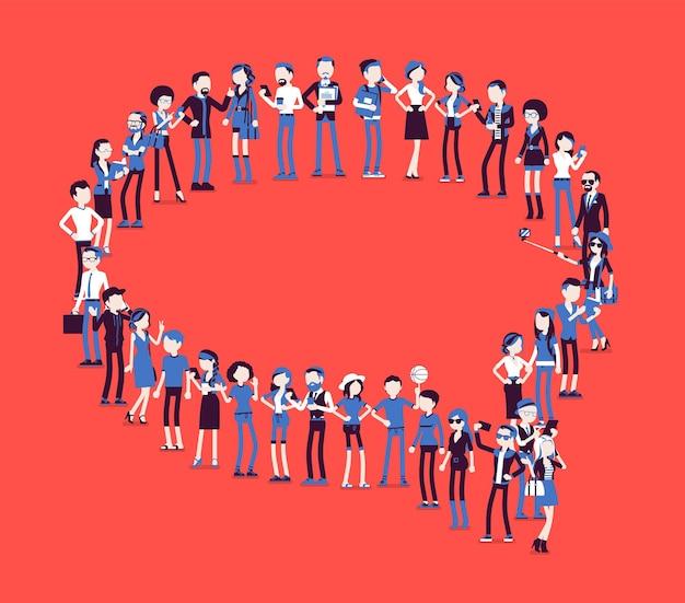 ふきだしの形を作る人々のグループ