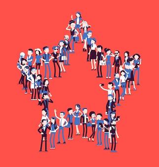 星の形を作る人々のグループ