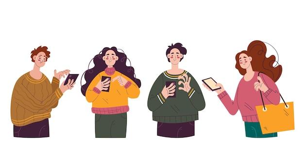 Группа людей мужчина женщина персонажей, использующих телефон изолированный набор
