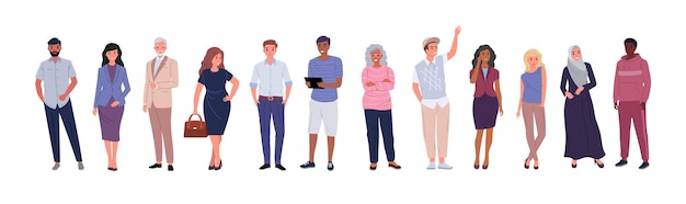 さまざまな年齢、国籍、民族の人々のグループ、白い背景で隔離。フラットな漫画の文字セット。ベクトルイラスト。
