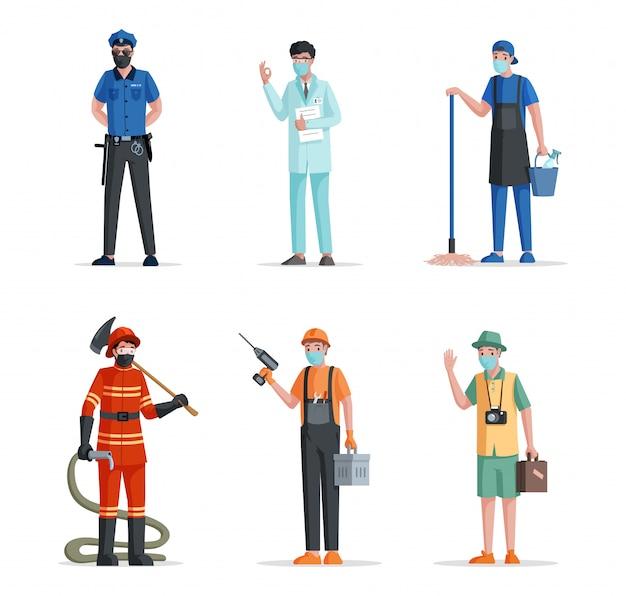 Группа людей разных профессий. полицейский, врач, ученый, дворник, пожарный, ремонтник и путешественник.