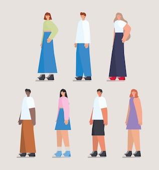베이지 색 배경에 사람들의 그룹