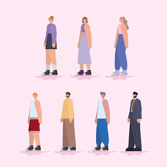 Группа людей на светло-розовом фоне