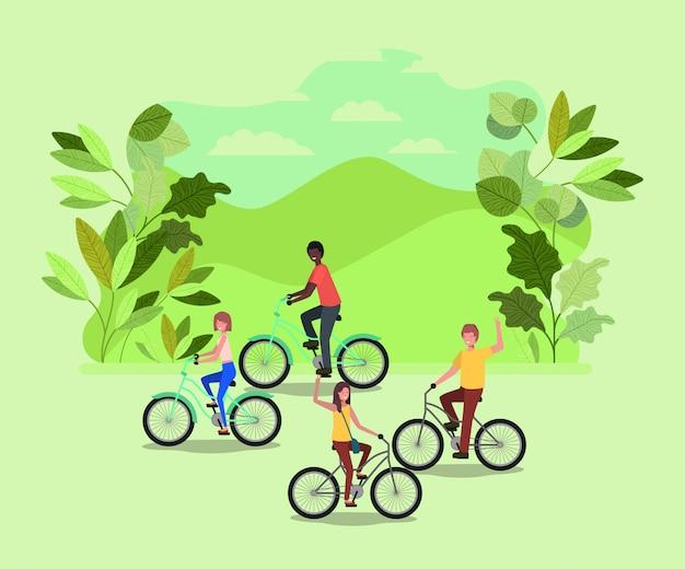 公園内の自転車に乗っている人々のグループ