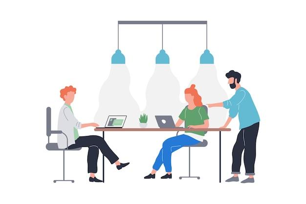 Группа людей на деловой встрече. сидение в команде