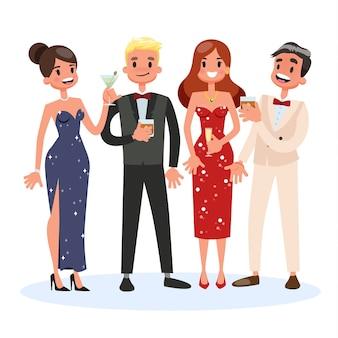 Группа людей на коктейльной вечеринке. женщина в красивом платье