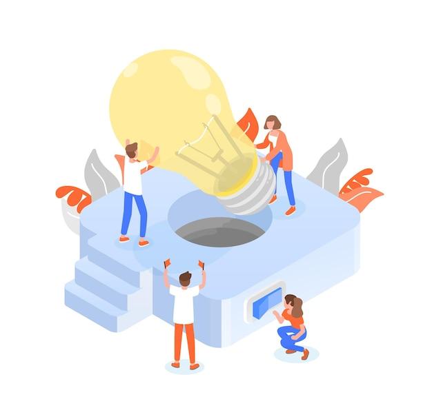 巨大な電球をランプに入れる人々またはチームメンバーのグループ