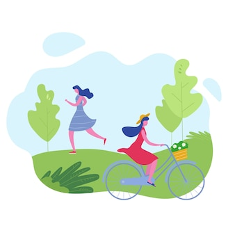 Группа людей, занимающихся спортом, отдых в парке, бег трусцой, езда на велосипедах. женщина персонажей делает тренировку на открытом воздухе. плоский мультфильм