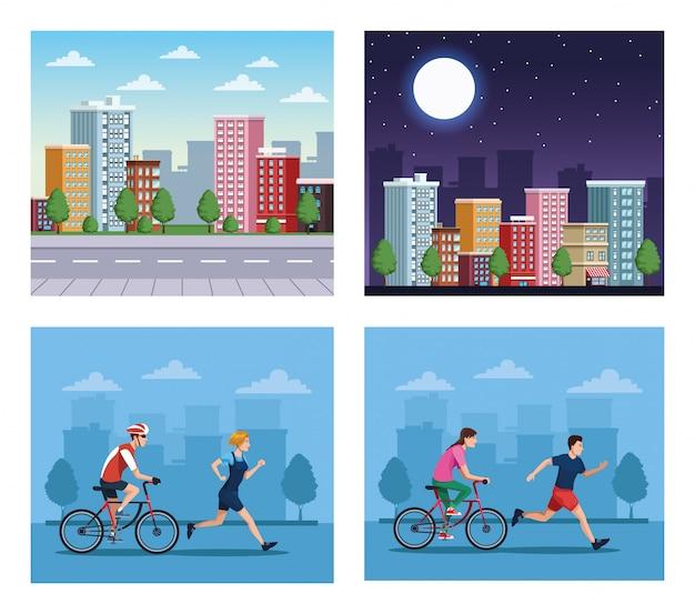 Группа людей, выполняющих упражнения на иллюстрации городских сцен