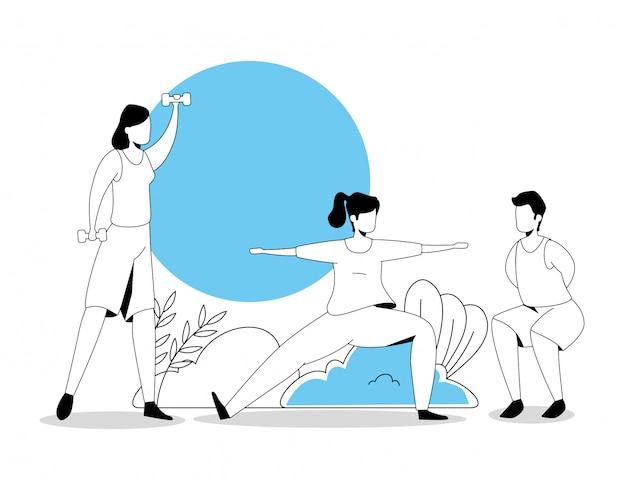 Группа людей, выполняющих упражнения