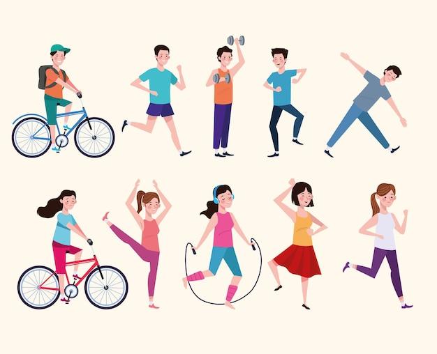 건강한 라이프 스타일 일러스트레이션을 연습하는 사람들의 그룹