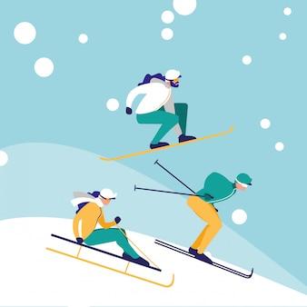 アイスアバターのキャラクターでスキーを練習する人々のグループ