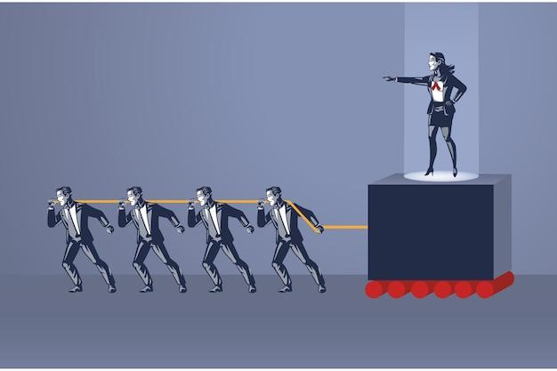 人々のグループは、残酷な女性の上司のブルーカラーの概念を動かすためにロープを引っ張る