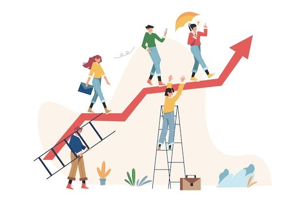 비즈니스 프로젝트 시작을 준비하기 위해 화살표를 실행하는 사람들의 그룹