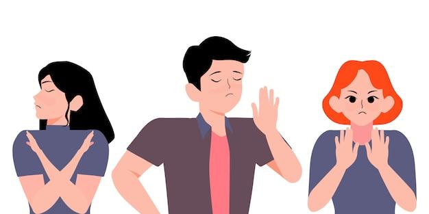 Группа людей показывает стоп жест своими руками. серьезный мужчина и женщина, жесты нет или стоп знак со скрещенными руками иллюстрации шаржа