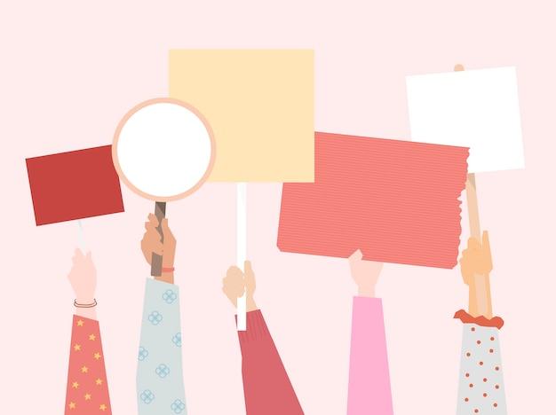 항의 보드를 보여주는 사람들의 그룹