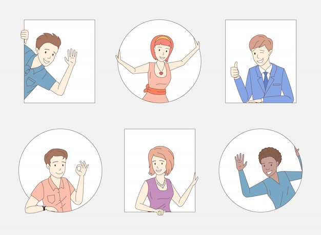 Группа людей показывает палец вверх, хорошо знаком, машет привет. друзья, сотрудники компании, коллеги, деловые люди персонажи.